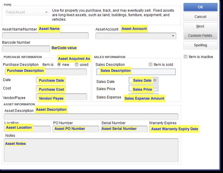 Import Fixed Asset Items into QuickBooks Desktop