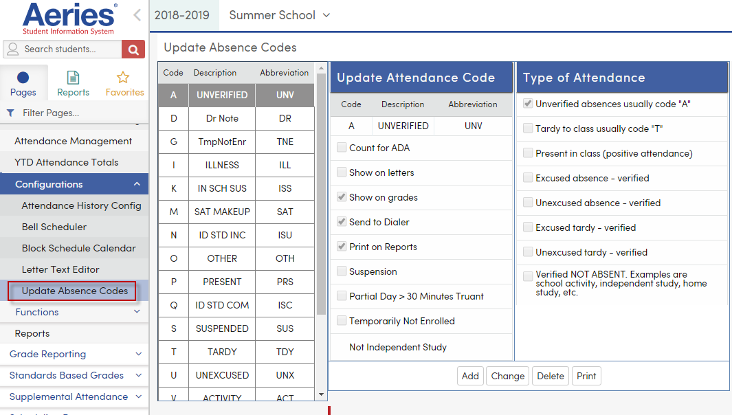 Traditional Summer School - Attendance : Aeries Software