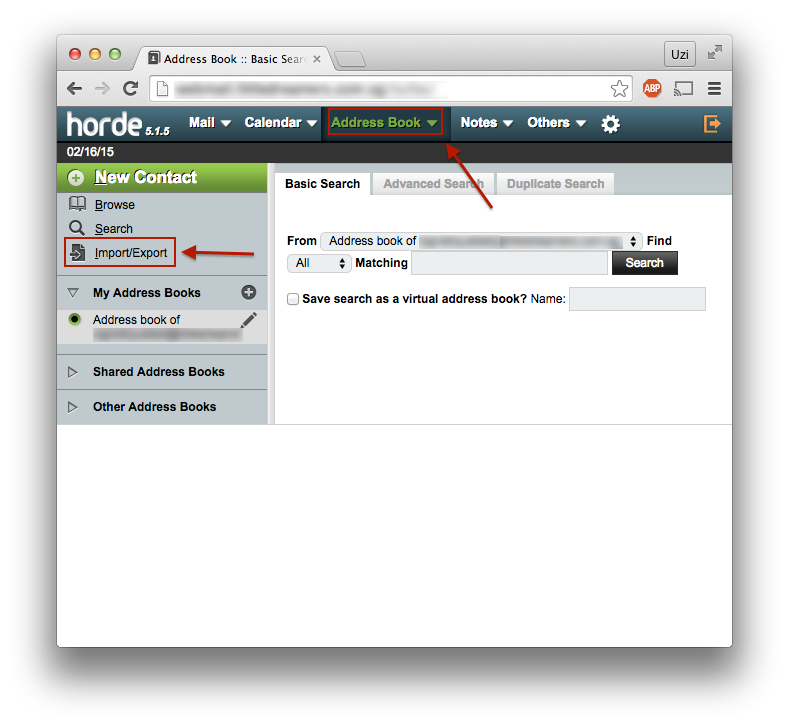 Importing Contacts into Webmail (Horde) : Exabytes com (US