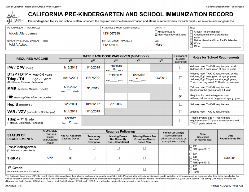 image about California Immunization Card Printable named Articles - Clean California Faculty Immunization