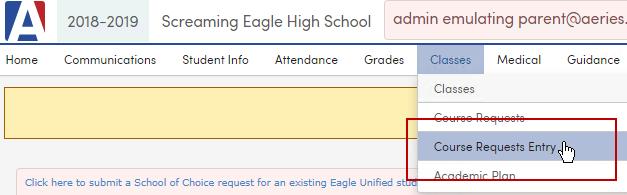 Student/Parent Portal - Course Requests Entry : Aeries Software