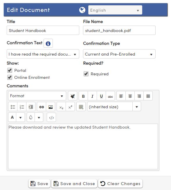 Portal Documents options