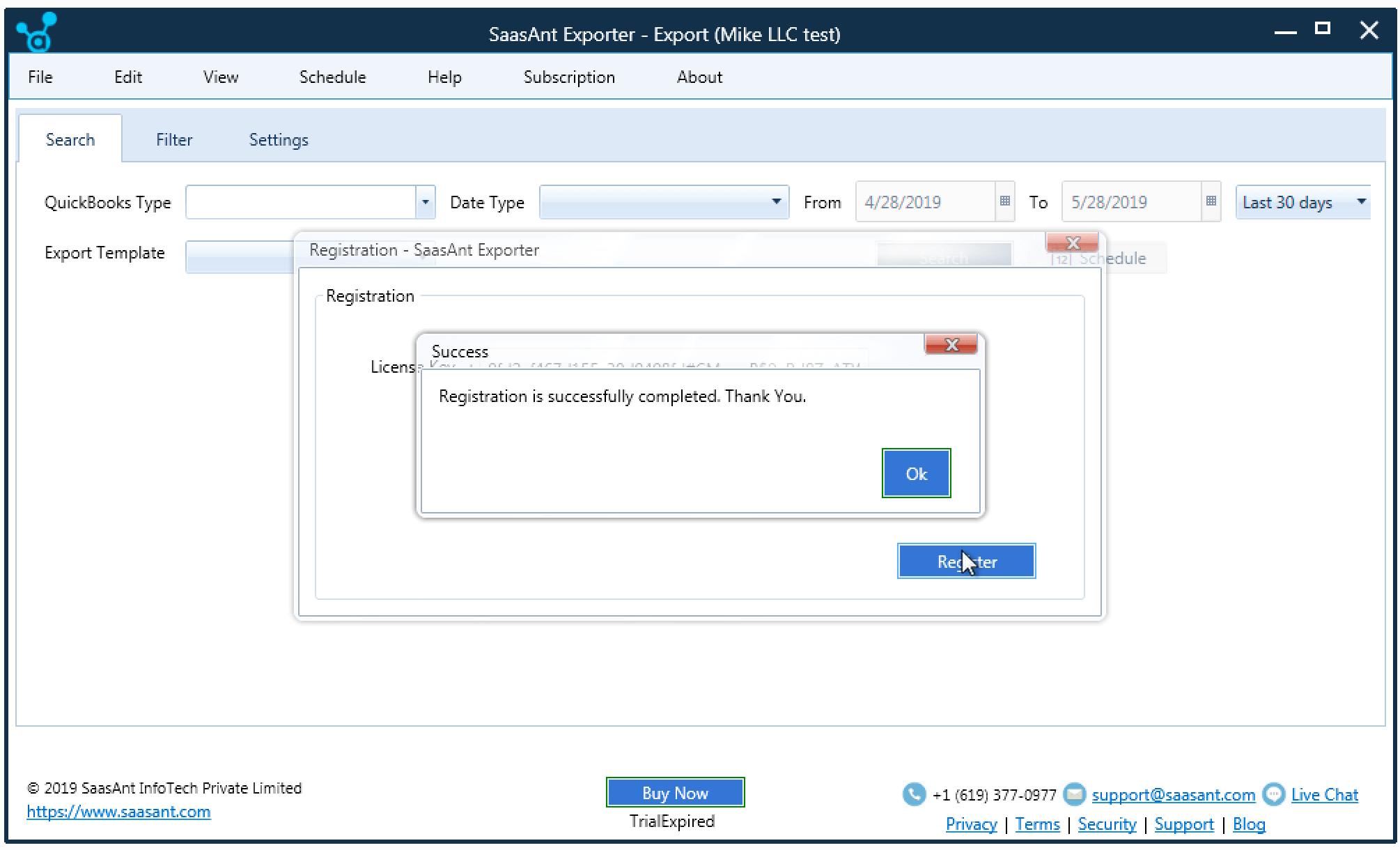 saasant exporter activation