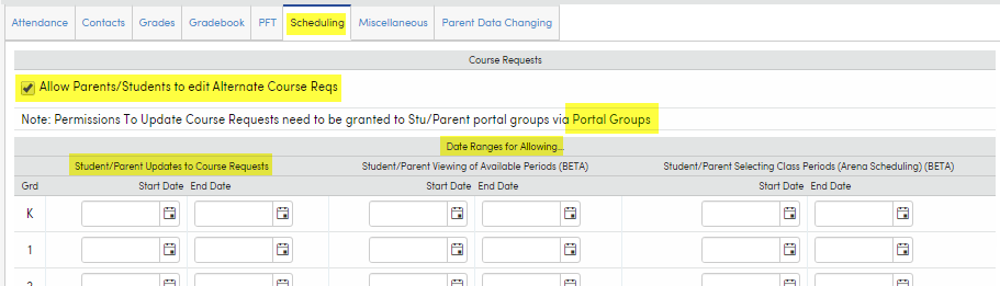Portal Options - Scheduling : Aeries Software