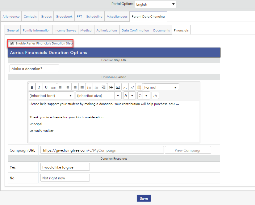 Enable Aeries Financial donations checkbox