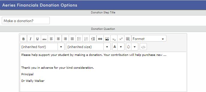 Financials tab options