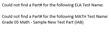 Completion Email - Missing Interim Assessment test parts message