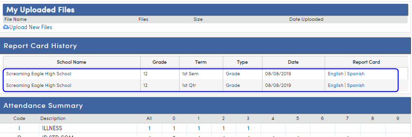 Profile Page - Report Card History