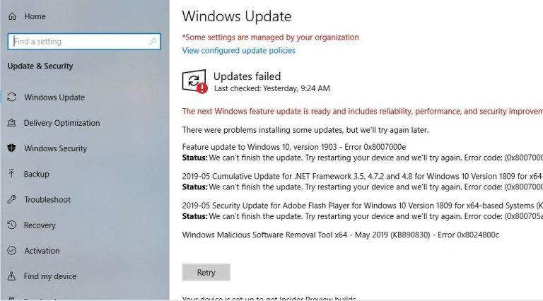 Windows 10 version 1903 error