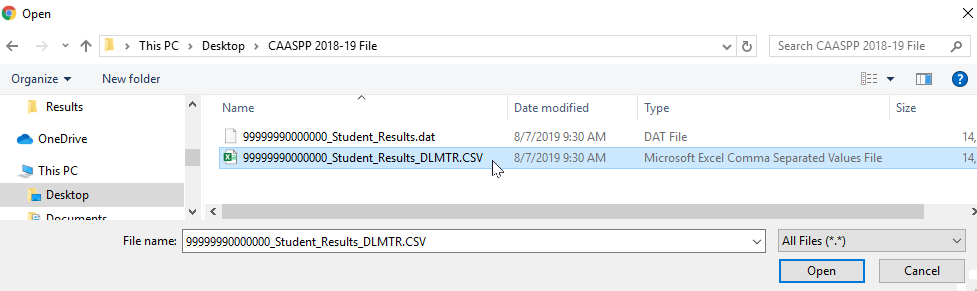 Import Test Results - select data file