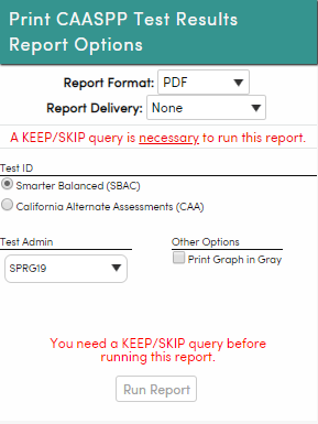 Print CAASPP Test Results - Run from District level