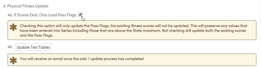 Import Test Results - Physical Fitness Update - Only Load Pass Flags option