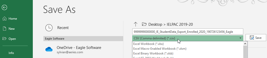Excel - Save as CSV example