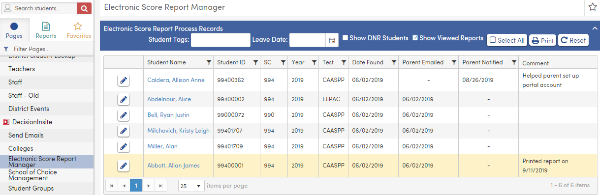 Electronic Score Report Manager
