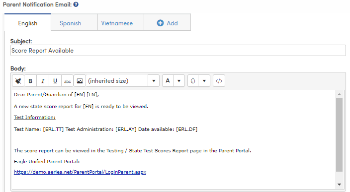 Configure Electronic Score Report Processing - Messaging Content tab - Parent Notification Email