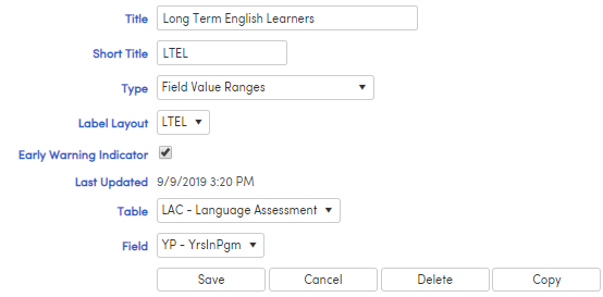 Indicator with Field Value Range