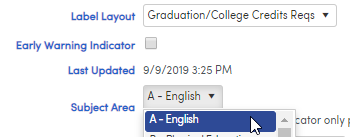 Label Layout for Graduation Requirements