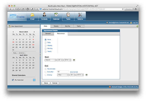 Calendar Recurrance