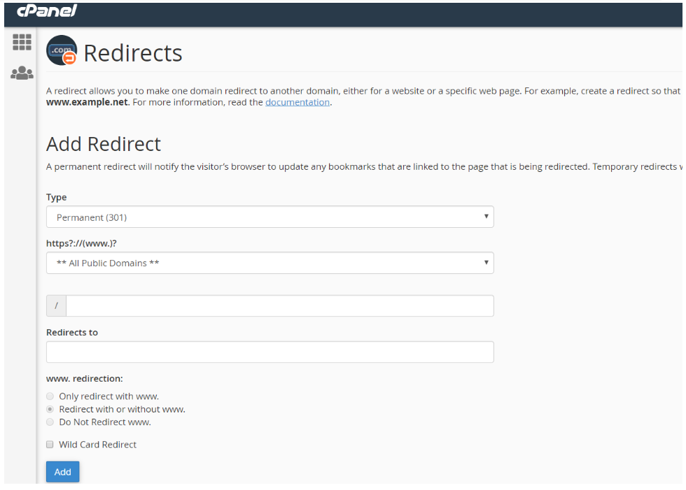 cpanel-redirects