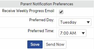 Parent Notification Preferences showing Send Now button