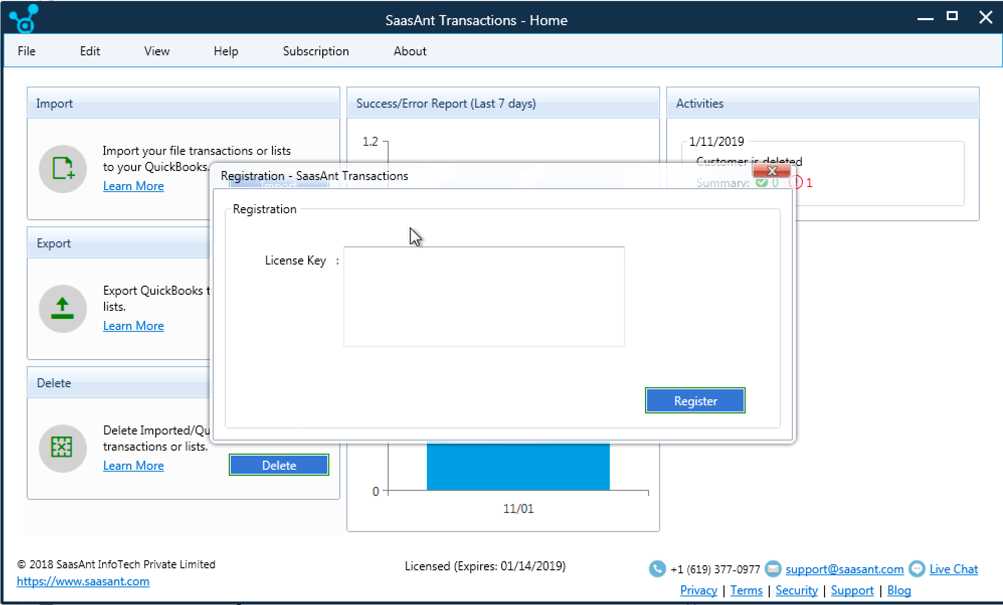 Activation of SaasAnt Transactions (Desktop)