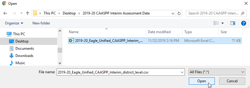 Import Test Results - Select Files to Load