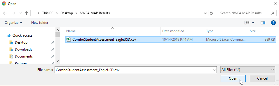 Import Test Results - Select the data file