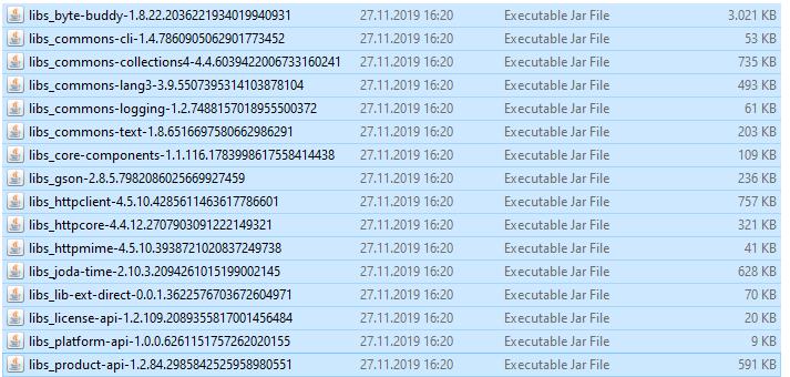 Erzeugte Dateien nach einem Durchlauf der cli.bat