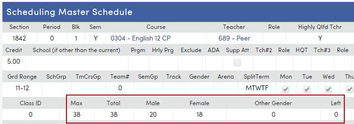 Section Totals and Maximum fields on Scheduling Master