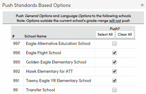 Standards Based Options - Push to Other Schools