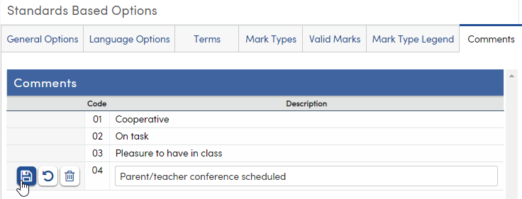 Standards Based Options - Comments tab