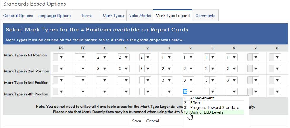 Standards Based Options - Mark Type Legend tab