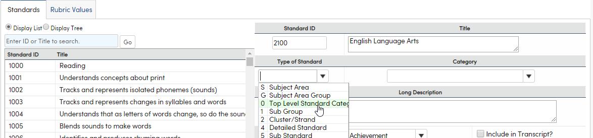 Standards - Type of Standard dropdown