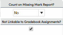 Standards - Count on Missing Mark Report and Not Linkable to Gradebook  Assignments options
