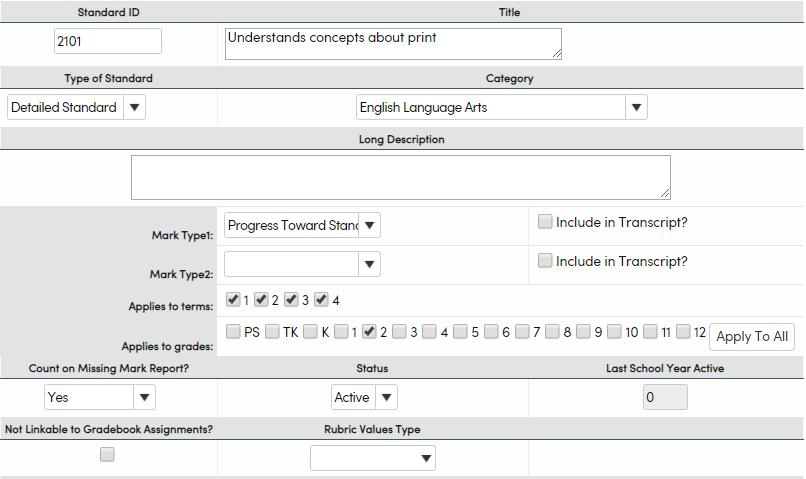 Standards - Add a substandard - Mark Type 1 example