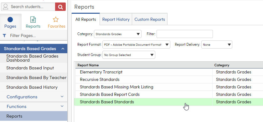 Standards Based Standards in Reports