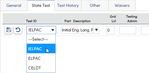 Language Assessment - State Test tab add a new record