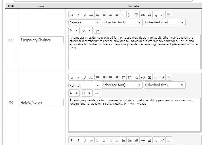 custom text for residence survey shelter types
