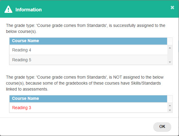 Message about courses whose grade scale did or did not change