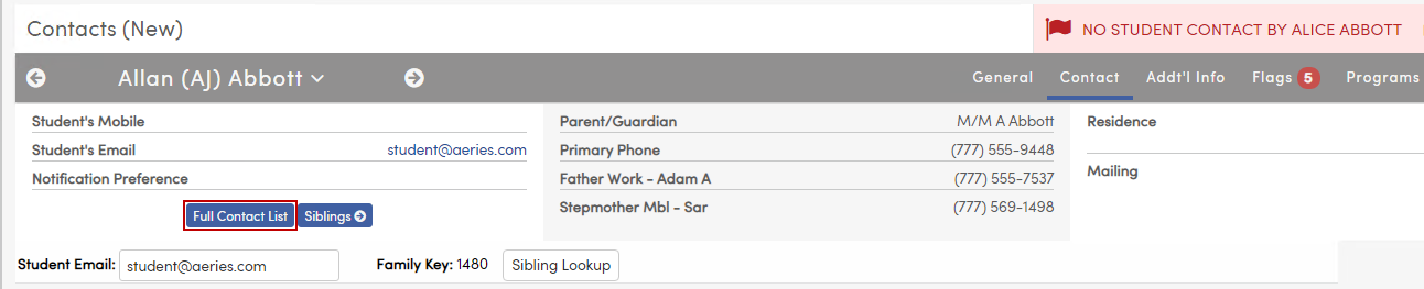 Contacts header on student information bar