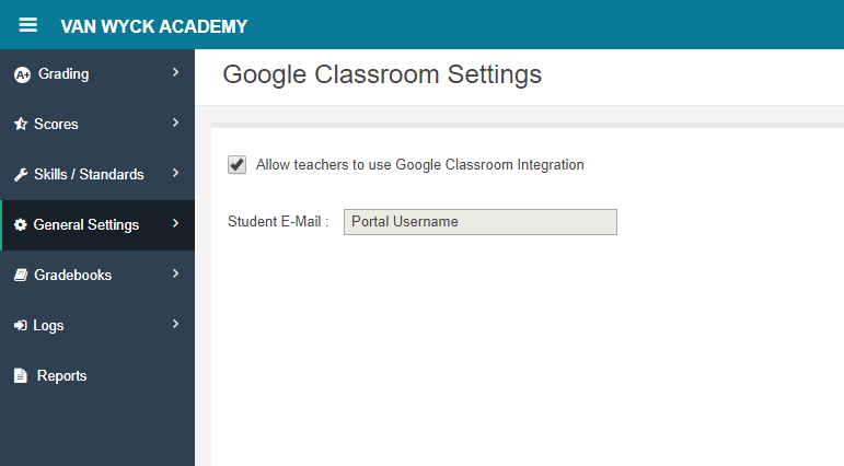 View the Student E-Mail field specified for Google Integration