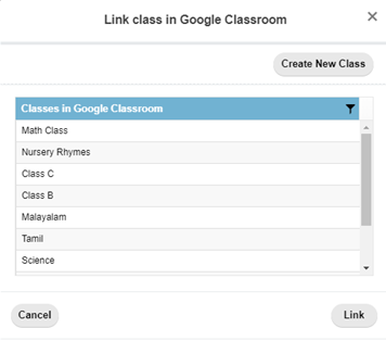 Link class in Google Classroom dialog box