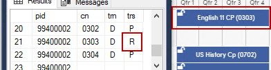 APC table showing R code for a rejected course