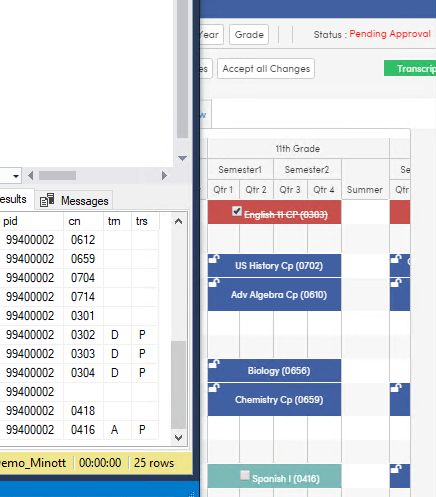 APC table showing Add Drop and Pending codes for parent changes