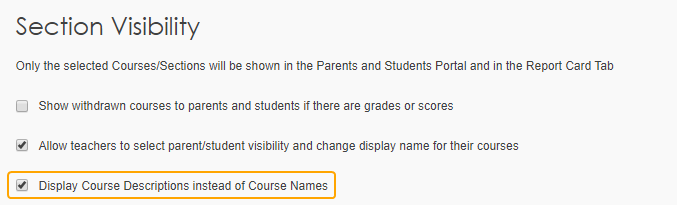 Display Course Descriptions instead of Course Names setting