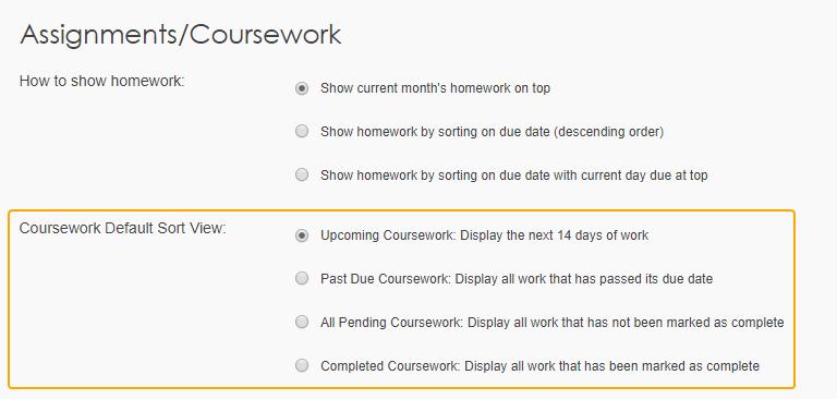 Coursework Default Sort View setting