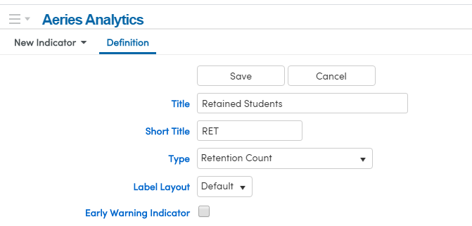 Indicator for Retention Counts