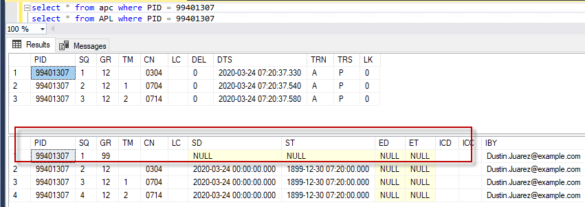 APL table showing a Pending submission