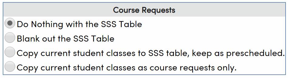 Course Requests initialization