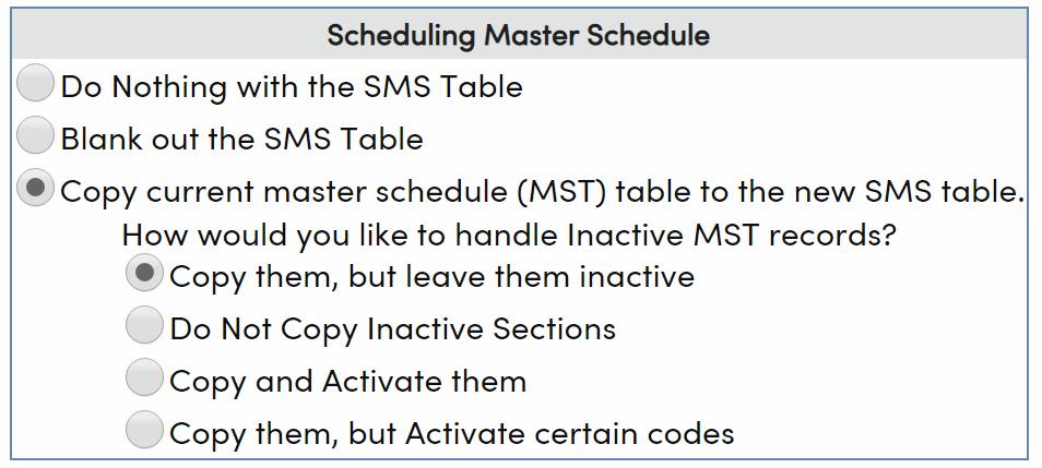 Scheduling Master Schedule options